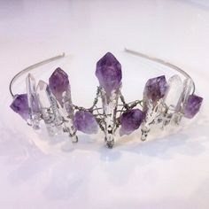 Amethyst Crystal Crown - Magical Unique Crown Tiara, with Natural Raw Amethyst Stones.
