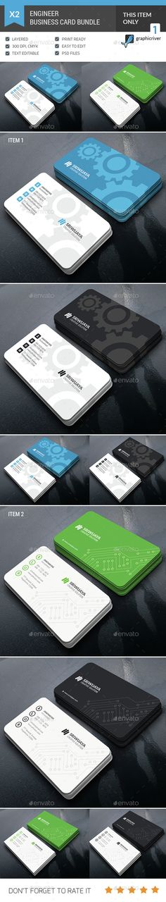 Business Card Bundle — Photoshop PSD #business card #engineer • Available here → https://graphicriver.net/item/business-card-bundle/14816793?ref=pxcr