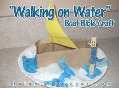 "Every child loves to hear the story of how Jesus walked on water. In this Bible craft kids can make their own boat to go along with this favorite Bible story. ""Walking on Water"" Boat Bible Craft Materials: ? Brown lunch bag 1 for each Bible Stories For Kids, Bible Story Crafts, Bible School Crafts, Bible Crafts For Kids, Craft Kids, Sunday School Projects, Sunday School Activities, Sunday School Lessons, Class Projects"