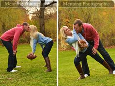engagement photo session with football; I wouldn't do it, but its definitely cute!