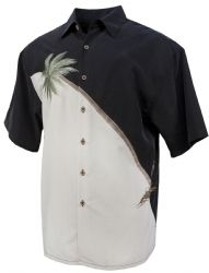 Hurricane Palm Tropical Embroidered Shirt in Black