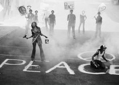 Peace protest: 'I had the idea because I felt it so needed to be said that peace is important again. So in the context of a fashion magazine, Peter Lindbergh totally embraced the idea, and even got his wife and son to participate.' Here Angela Lindvall wears John Galliano for the March 2005 issue