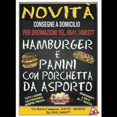Novità !! #hamburger e #panini con #porchetta da asporto tutti i giorni #gastronomia sempre fresca  Ingredienti a km zero da 1° scelta  Consegne a domicilio per ordinazioni tel 05411490377  Via Dario Campana 119/121 #Rimini tel 05411490377 #PaneVino e Baghino  #Abirò #magazine #annuncirimini #foodblogger #riccione #santarcangelo #loves_emiliaromagna #rivieraromagnola #abitareromagna #vivorimini #vivoemiliaromagna #picoftheday #followme #like4like