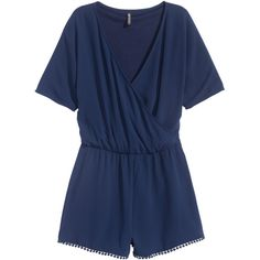 V-neck playsuit $34.99 ($35) ❤ liked on Polyvore featuring jumpsuits, rompers, jumpsuit, playsuit romper, short rompers, v neck jumpsuit, blue romper and short romper jumpsuit