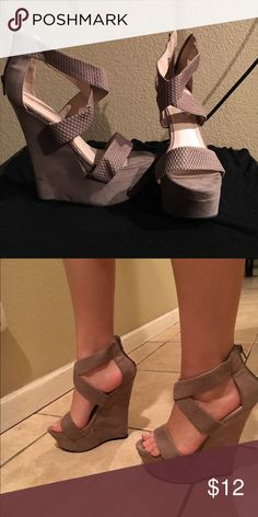 Wedges High nude justfab wedges JustFab Shoes Wedges
