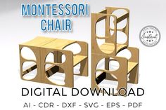 Montessori chair Decor for home Baby Chair model Cnc Wood, Cnc Router, Montessori, Laser Cut Files, Carpentry Tools, Baby Chair, The Office, Etsy, 3d