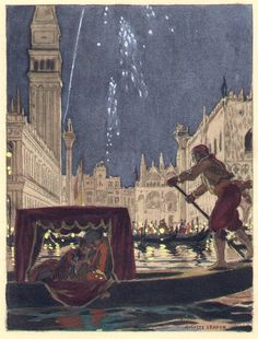 [This illustration doesn't refer to any particular situation in the last part of Casanova's autobiography. Once more Leroux refers to Venice, the carnival, and the gondola.] from the 1932 French edition of Casanova's Histoire de ma Vie. Watercolor by Auguste Leroux (1871-1954)