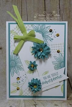 Grateful Bunch Tag Card - www.dreamingabout... - The Stampin' Up! Grateful Bunch stamp set and Blossoms Punch pair up with Timeless Textures for this handstamped tag card with scrunched punched flowers