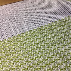 Current kitchen towel on the loom-love the lime green!