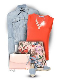 """Denim jacket & printed shorts"" by pinkroseten ❤ liked on Polyvore featuring J Brand, Blumarine, Gucci, Cynthia Rowley, Steve Madden, Kendra Scott, Bling Jewelry, denimjacket and floralshort"