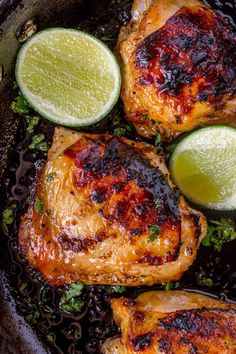 Baked Honey Lime Chicken with just 4 total ingredients browned then baked in the same skillet and the results are crispy, citrusy, sweet and tender.