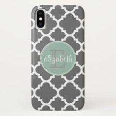 Charcoal and Mint Quatrefoil Pattern Monogram iPhone X Case