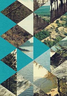 Geometric nature collage by Jelle Martens. Interesting way to display all those scenery shots from the last vacation.
