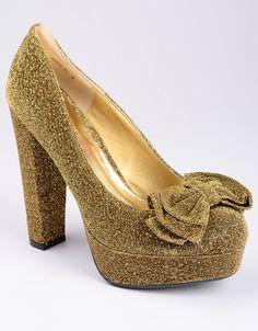 b3b63b0cbd6 Bamboo Glitter Bow Platform Platform Shoes