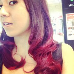Loving the ombre deep violet and red! #hair #beauty