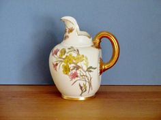 Victorian Royal Worcester Hand Painted Jug Ewer Pitcher by QueensParkVintage on Etsy