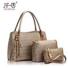 JF-U Luxury Handbag Women Bags Designer Female Bag Hobo Tote Set Top-handle shoulder bags Handbag+Messenger Bag+Purse sac a main