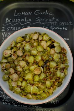 Tangy and savory Lemon Herb Brussel Sprouts with Pancetta.