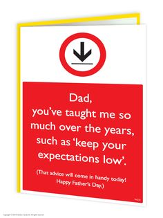 brainboxcandy.com - Low Expectations Father's Day Greetings Card, £2.50 (http://www.brainboxcandy.com/low-expectations-fathers-day-greetings-card/)