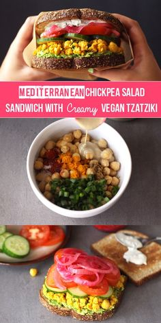Mediterranean Chickpea Salad Sandiwhc with Creamy Vegan Tzatziki (V)   Zena 'n…