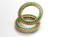 Manish Arora Amrapali collection Candy Bijou bangle with pearls and turquoise