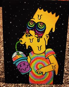 Excited to share the latest addition to my shop: Trippy Bart Easy Canvas Art, Cute Canvas Paintings, Small Canvas Art, Mini Canvas Art, Acrylic Painting Canvas, Hippie Painting, Trippy Painting, Cartoon Painting, Trippy Drawings