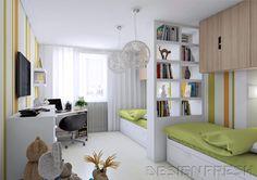... грамотно??? Хотелось бы: два спальных места (двухъярусная кровать - не вариант...), рабочий стол и полки для старшего, игровая зона для младшего, гардероб, спортивный уголок. Важно, чтобы для старшего ребенка была уединенная зона для занятий и сна, а остальное пространство - для младшего, так как он ВЕЗДЕ))) Имеется: комната около 15 м (4,7/3). Нашла в интернете несколько вариантов ...