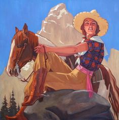 Cowgirl by contemporary artist, Dennis Zieminski, a native San Franciscan.