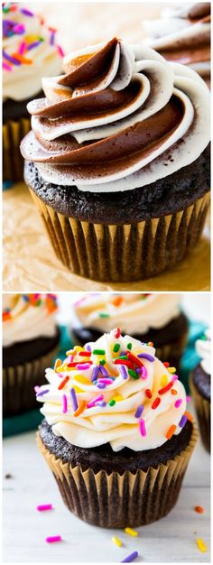 My favorite homemade chocolate cupcake recipe-- frosted two ways!
