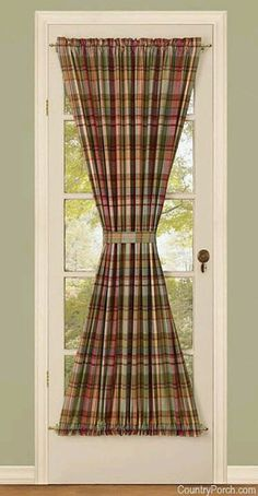 Spruce up any French Door with the Park Designs Lemon Pepper Lined French Door Panel. The plaid design makes any room brighter. Kitchen Curtains And Valances, French Door Curtains, Country Curtains, Curtains With Blinds, Window Curtains, French Doors, Curtain Styles, Curtain Designs, Curtain Ideas