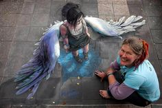 a very cool drawing on the street, it is amazing!