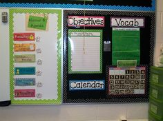 "Bulletin board with: schedule, objectives, vocab., calendar (do this with language card, schedule, focus word poster, ""we're learning"" and morning message on white board, calendar and 100s chart)"