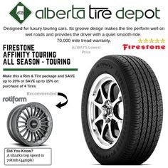 Firestone Affinity Touring All Season Touring. Tyre Companies, Firestone Tires, Service Map, Fire Apparatus, Touring, Seasons, Cars, Luxury, Autos