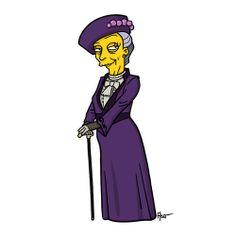 La Comtesse douairière de Downton Abbey, version Simpsons.