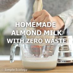 Almond milk (and other non-dairy alternatives) have become hugely popular in the past few years, popping up in grocery stores and coffee shops almost everywhere. While these store-bought versions are convenient, they're loaded with hidden sugars and prese Almond Pulp, Make Almond Milk, Almond Milk Recipes, Homemade Almond Milk, No Dairy Recipes, Vegan Recipes, Kefir Recipes, Cashew Milk, Almond Drink Recipe