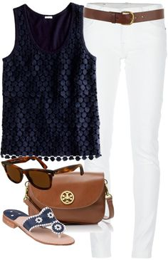 """Navy & White"" by classically-preppy ❤ liked on Polyvore"