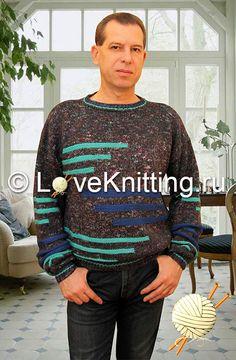 Пуловер c полосами