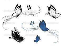 Borboletas com um teste padrão de flor — Ilustração de Stock #4275753