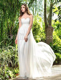 Lanting Bride® Sheath / Column Petite / Plus Sizes Wedding Dress - Classic & Timeless Floor-length Strapless Chiffon with 2017 - ₩91862