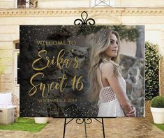 Photo welcome sign for sweet Printable personalized sweet 16 or birthday photo welcome sign, birthday party photo welcome sign, DIGITAL This listing is for digital files. No printed materials will be shipped. Included: - one JPG 18 Sweet 16 Party Themes, Sweet 16 Party Decorations, Sweet 16 Party Favors, Sweet 16 Centerpieces, Sweet Sixteen Parties, Sweet Sixteen Themes, 16th Birthday Decorations, Graduation Decorations, Party Pictures