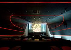 Multiplex cinema/Kiev/Ukraine/completed in 2015 over 45 days. In collaboration with Sergey Makhno Architects. Our team wanted to design a space which gives powerful emotions and assists people to feel the world in a different way Home Theater Room Design, Home Cinema Room, Home Theater Rooms, Theatre Design, Home Interior Design, Cinema Movie Theater, Cinema Cinema, Home Recording Studio Setup, Acoustic Wall