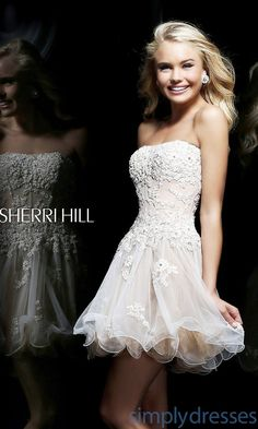 Dress, Short Sherri Hill Dress with Corset Bodice - Simply Dresses