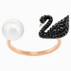 Iconic Swan Open Ring, Black, Rose-gold tone plated | Swarovski.com Swarovski Gifts, Swarovski Swan, Swarovski Ring, Swarovski Crystals, Black Rings, White Gold Rings, Open Ring, To Infinity And Beyond, Black Crystals