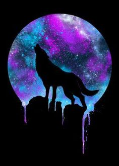 print on steel Animals wolf wolves space galaxy howl unique colorful neon colors pruple violet