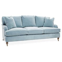 Hudson Sofa, Light Blue Velvet - Sofas & Sectionals - Furniture - Category Landing Page French Country Sofa, Country Sofas, French Cottage, French Farmhouse, Cottage Style, Family Room Design, Dining Room Design, Light Blue Couches, Blue Sofas