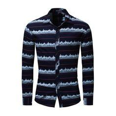 YYear Mens Splicing Contrast Regular Fit Nightclub Long Sleeve Stripe Print Button Down Blouse Shirt