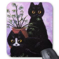 Cute mousepad featuring a painting of 2 mischievous cats. Love this :)