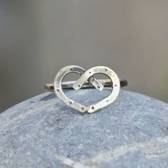 Double Horseshoe Heart Sterling Silver Ring by JoLovesJewelry, $34.00