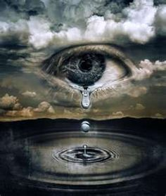 crying eye in the clouds