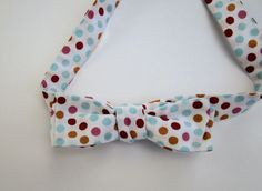 Skinny, Self-Tie Bowtie for Men.  White with Red, Pink, Orange and Blue Dots. Homemade by me. Ships Worldwide. by StrictlyBowTies on Etsy